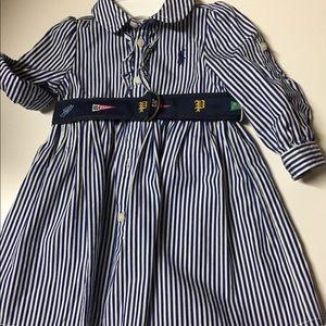 Ralph Lauren 6mos Navy striped dress,adjust sleeve